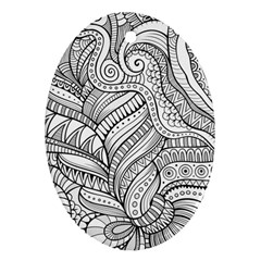 Zentangle Art Patterns Oval Ornament (Two Sides)