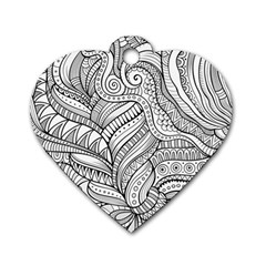 Zentangle Art Patterns Dog Tag Heart (Two Sides)