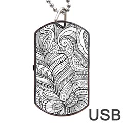 Zentangle Art Patterns Dog Tag USB Flash (One Side)
