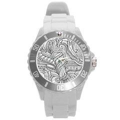 Zentangle Art Patterns Round Plastic Sport Watch (L)