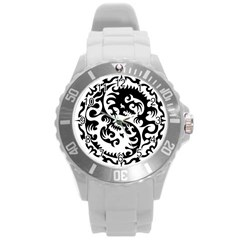 Ying Yang Tattoo Round Plastic Sport Watch (L)