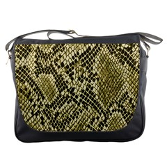 Yellow Snake Skin Pattern Messenger Bags