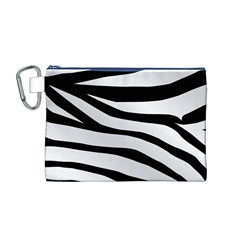 White Tiger Skin Canvas Cosmetic Bag (M)