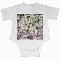 White Technology Circuit Board Electronic Computer Infant Creepers