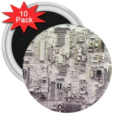 White Technology Circuit Board Electronic Computer 3  Magnets (10 pack)