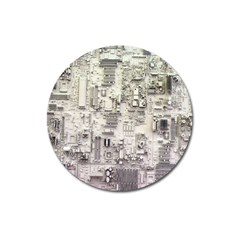 White Technology Circuit Board Electronic Computer Magnet 3  (Round)