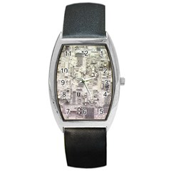 White Technology Circuit Board Electronic Computer Barrel Style Metal Watch