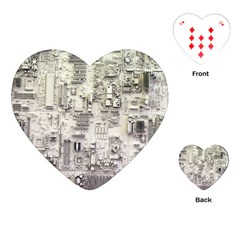 White Technology Circuit Board Electronic Computer Playing Cards (Heart)
