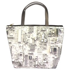 White Technology Circuit Board Electronic Computer Bucket Bags