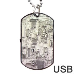 White Technology Circuit Board Electronic Computer Dog Tag USB Flash (One Side)