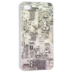 White Technology Circuit Board Electronic Computer Apple iPhone 4/4s Seamless Case (White)