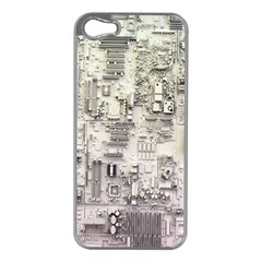 White Technology Circuit Board Electronic Computer Apple iPhone 5 Case (Silver)