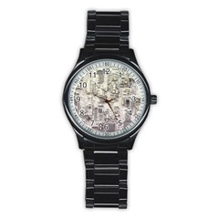 White Technology Circuit Board Electronic Computer Stainless Steel Round Watch