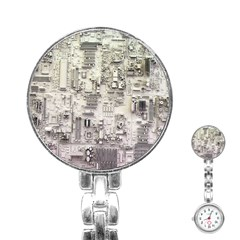 White Technology Circuit Board Electronic Computer Stainless Steel Nurses Watch