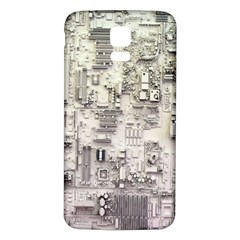 White Technology Circuit Board Electronic Computer Samsung Galaxy S5 Back Case (White)