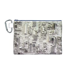 White Technology Circuit Board Electronic Computer Canvas Cosmetic Bag (M)