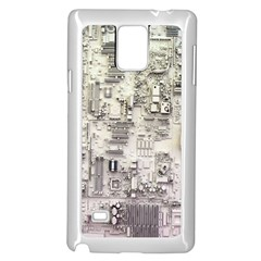 White Technology Circuit Board Electronic Computer Samsung Galaxy Note 4 Case (White)