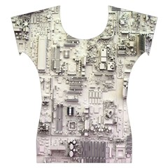 White Technology Circuit Board Electronic Computer Women s Cap Sleeve Top