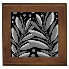 Gray plant design Framed Tiles