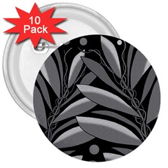 Gray plant design 3  Buttons (10 pack)