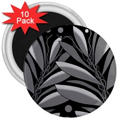 Gray plant design 3  Magnets (10 pack)