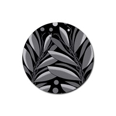 Gray plant design Rubber Coaster (Round)
