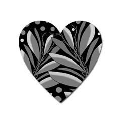 Gray plant design Heart Magnet