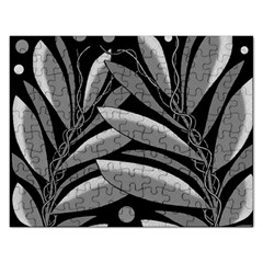 Gray plant design Rectangular Jigsaw Puzzl