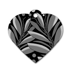 Gray plant design Dog Tag Heart (One Side)