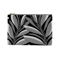 Gray plant design Cosmetic Bag (Large)