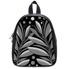 Gray plant design School Bags (Small)