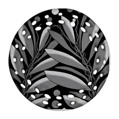Gray plant design Ornament (Round Filigree)