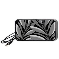 Gray plant design Portable Speaker (Black)