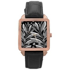 Gray plant design Rose Gold Leather Watch