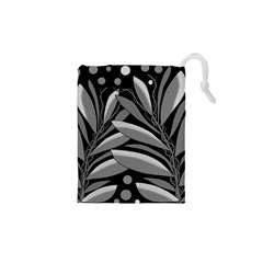 Gray plant design Drawstring Pouches (XS)
