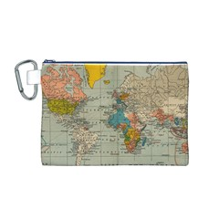 Vintage World Map Canvas Cosmetic Bag (M)