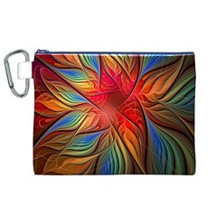 Vintage Colors Flower Petals Spiral Abstract Canvas Cosmetic Bag (XL)