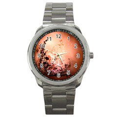 Wonderful Flowers In Soft Colors With Bubbles Sport Metal Watch
