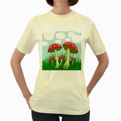 Mushrooms  Women s Yellow T-Shirt