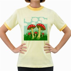 Mushrooms  Women s Fitted Ringer T-Shirts
