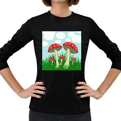 Mushrooms  Women s Long Sleeve Dark T-Shirts