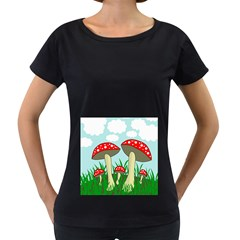 Mushrooms  Women s Loose-Fit T-Shirt (Black)