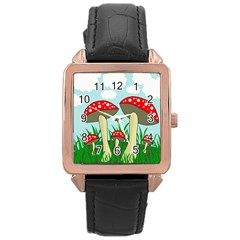 Mushrooms  Rose Gold Leather Watch