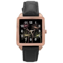 Elegant dandelions  Rose Gold Leather Watch