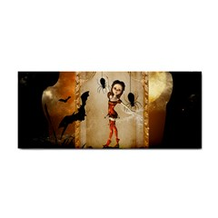 Halloween, Cute Girl With Pumpkin And Spiders Hand Towel