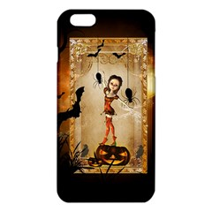 Halloween, Cute Girl With Pumpkin And Spiders Iphone 6 Plus/6s Plus Tpu Case