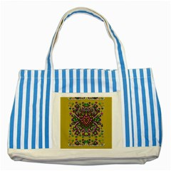 Fantasy Flower Peacock With Some Soul In Popart Striped Blue Tote Bag