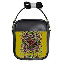Fantasy Flower Peacock With Some Soul In Popart Girls Sling Bags