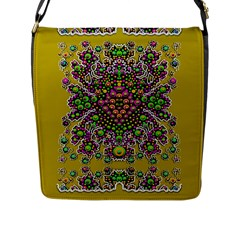 Fantasy Flower Peacock With Some Soul In Popart Flap Messenger Bag (l)