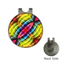 Multicolored Abstract Pattern Print Hat Clip With Golf Ball Marker